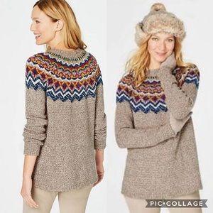 J Jill Medium Fair Isle Nordic Sweater Tan